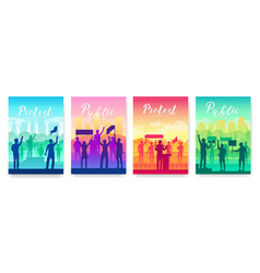 men and women share a protest brochure vector image