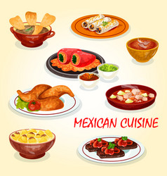 mexican cuisine icon of dinner dish with hot sauce vector image