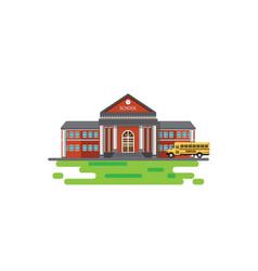 modern school building with school bus vector image