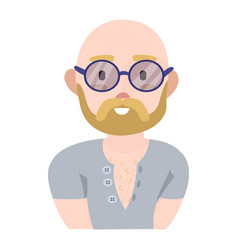 modern young man with a beard and round glasses in vector image