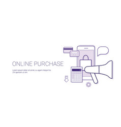 online purchase mobile shopping technology concept vector image