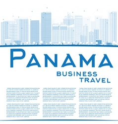 Outline Panama City skyline vector