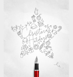 pen line drawing christmas tree toy star vector image