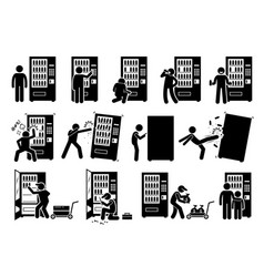 People with vending machine pictograph depicts vector