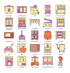 professional kitchen equipment icon set in colored vector image