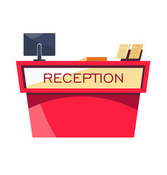 Reception desk hotel service room booking and vector