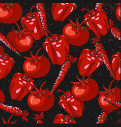 red vegetables seamless pattern with black grunge vector image