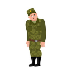 Russian soldier sad warrior sorrowful dull vector