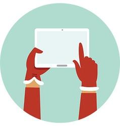 Santa hands holding digital tablet vector image