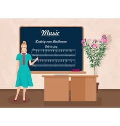 School Music female teacher in audience class vector image