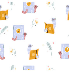 seamless pattern with funny bookwom and books vector image