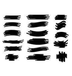 set brush pen underline hand drawn sign vector image
