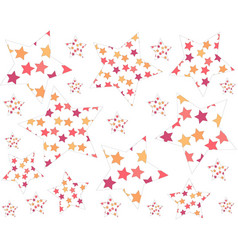 Set of large and small colored stars randomly vector