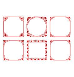 Set of square frames with hearts flourishes vector