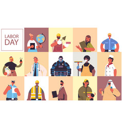 Set people different occupations celebrating vector