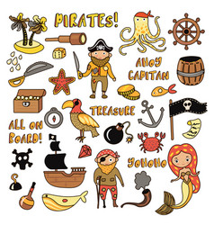 set pirates cartoon objects adventures vector image