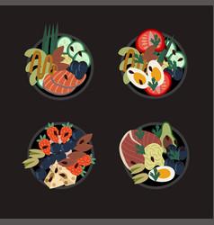 set poke bowls healthy food from natural vector image