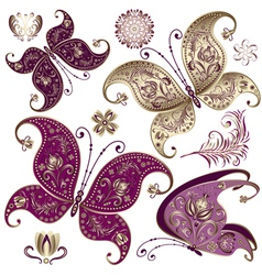 set purple and gold vintage butterflies vector image