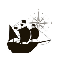 Ship with sails with north star compass vector
