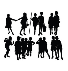 Silhouettes play together at school vector