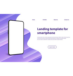 smartphone screen landing page mobile phone frame vector image