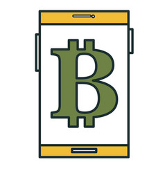 Smartphone with bitcoin symbol vector