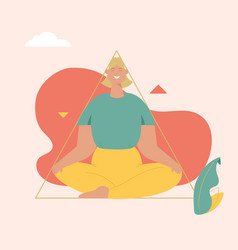smiling woman meditates at triangle geometric vector image