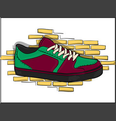 Sneakers for skateboarding purple-green on lacing vector
