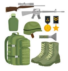 Soldier war equipment icons vector