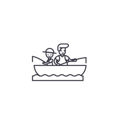 son and dad fishing line icon sign vector image
