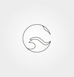 Stingray circle logo line art minimalist design vector