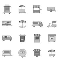 Street food kiosk vehicle icons set vector image