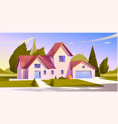 suburban house residential cottage real estate vector image