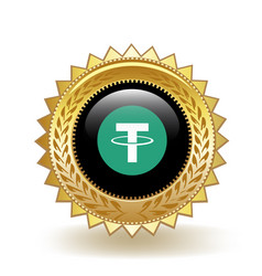 Tether cryptocurrency coin gold badge vector