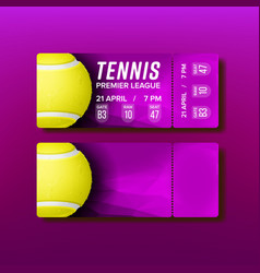 ticket tear-off coupon visit tennis match vector image