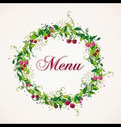 Vintage cherry plant wreath menu background vector