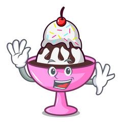 Waving ice cream sundae character cartoon vector