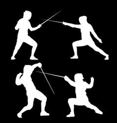 white silhouette of swordsmen on a black vector image