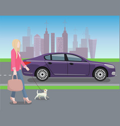 Woman walking dog in city vector