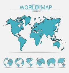World map with earth globes vector image