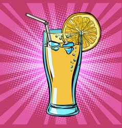 Yellow beverage juice lemonade with lemon vector