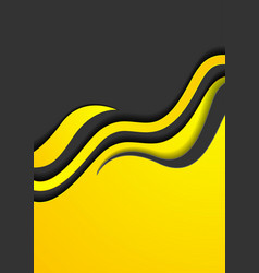 yellow black abstract corporate waves flyer design vector image
