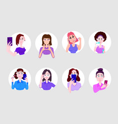Young girls stickers set characters flat style vector