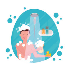 young man taking shower - round shape composition vector image