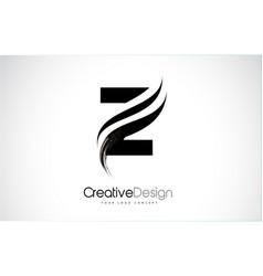 Z letter logo design brush paint stroke artistic vector