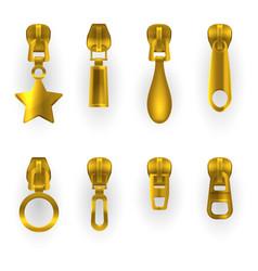 zipper pullers golden zip hasps different shapes vector image