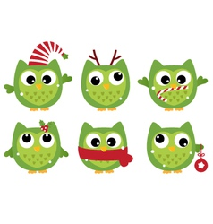 Cute beautiful xmas owls isolated on white vector image