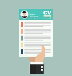 hand holding cv application paper sheet vector image
