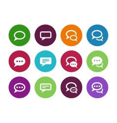 Speech bubble circle icons on white background vector image