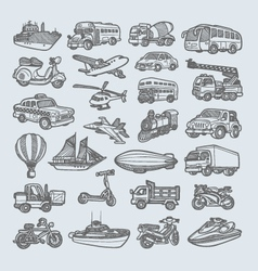 Transportation icons sketch vector image vector image